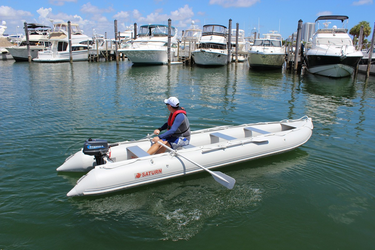 18' Saturn KaBoat - Light Grey SK548XL - Rowing with Outboard Motor Added