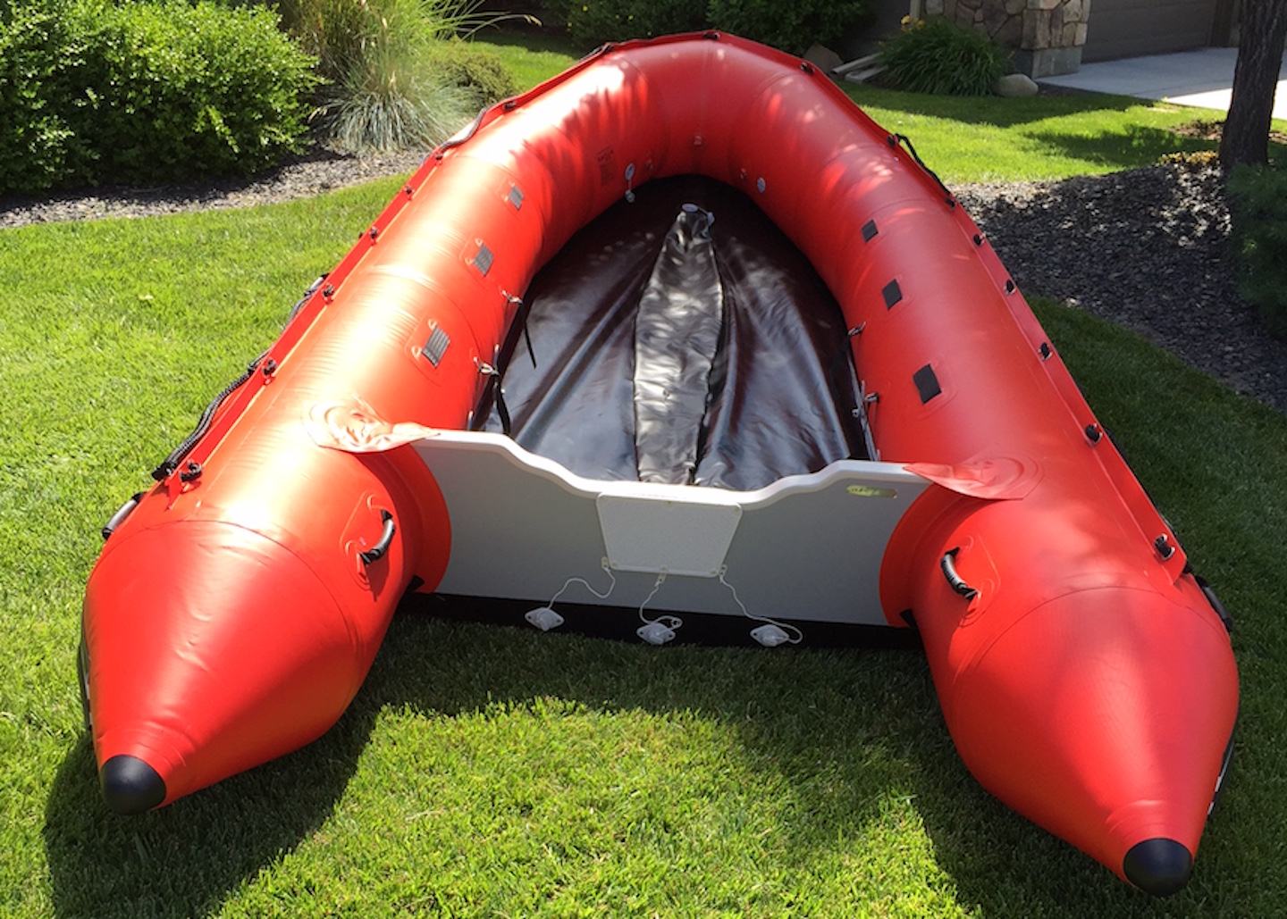 16' Saturn XHD488F Inflatable Rescue Boat - Top View Showing Removed Aluminum Sectional Floor and Deflated Keel