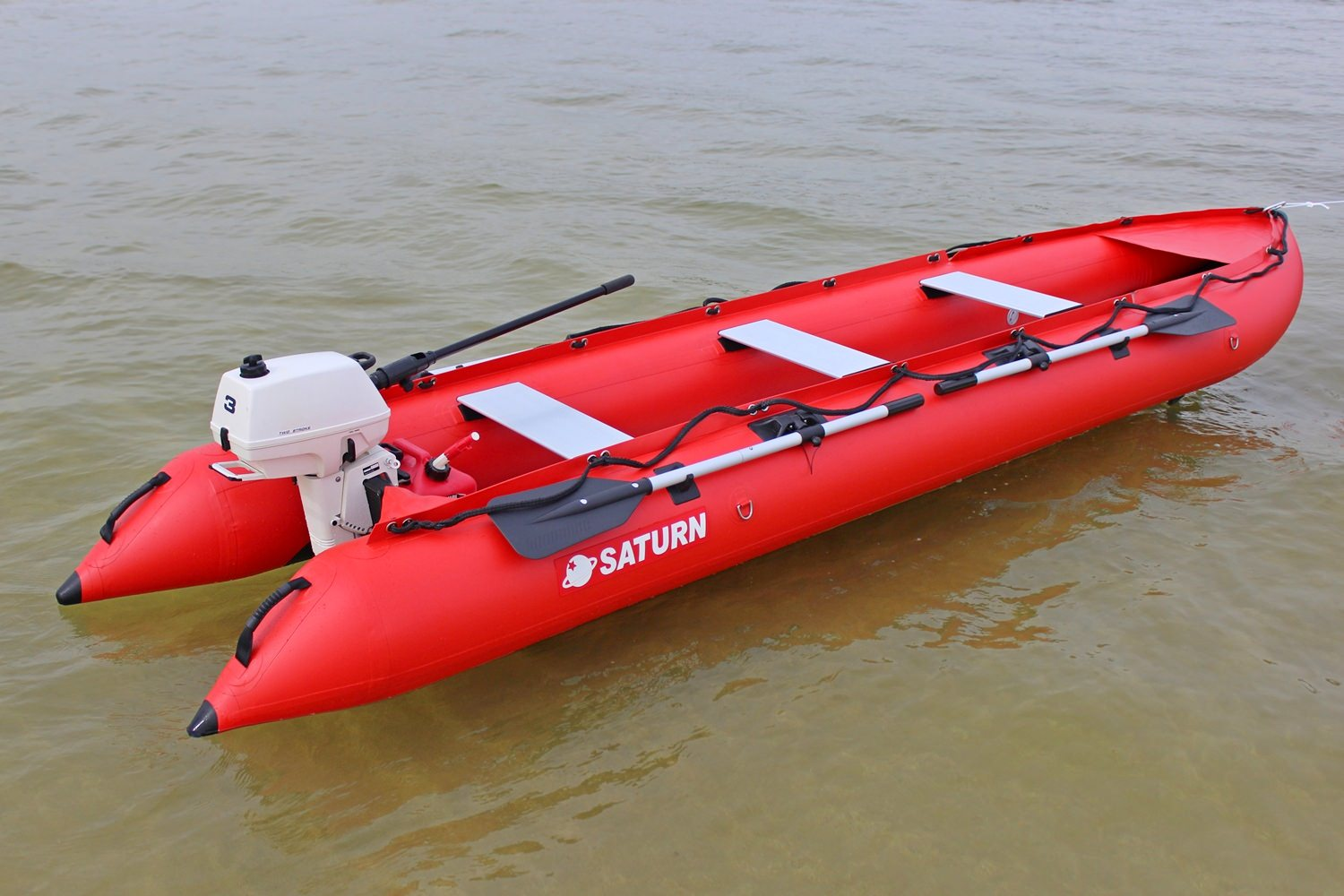 15' Saturn KaBoat SK470 - Red - On the Water with 3 HP Outboard Motor