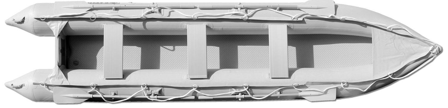 15' Saturn KaBoat SK470 - Light Grey - Top View with 3 Aluminum Bench Seats