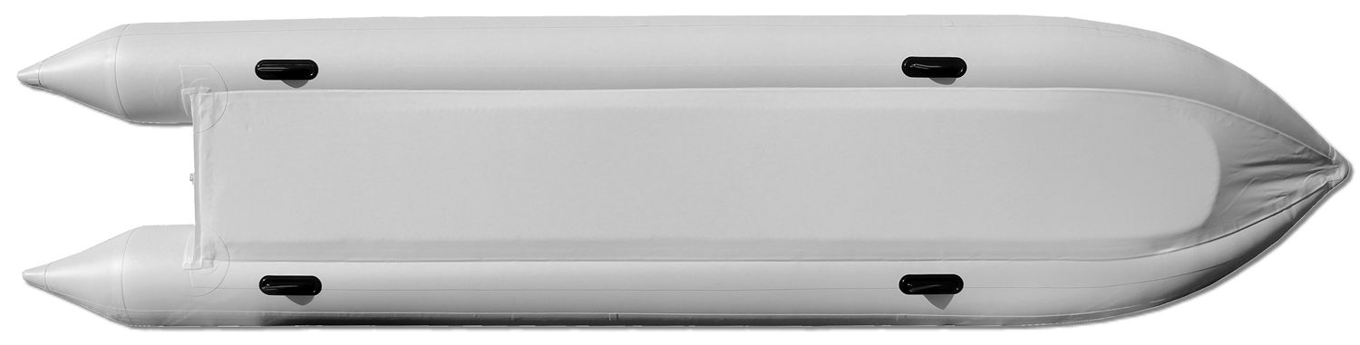 15' Saturn KaBoat SK470 - Light Grey - Bottom View Showing 2 PVC Protection Layers Covering Side Tubes and Floor