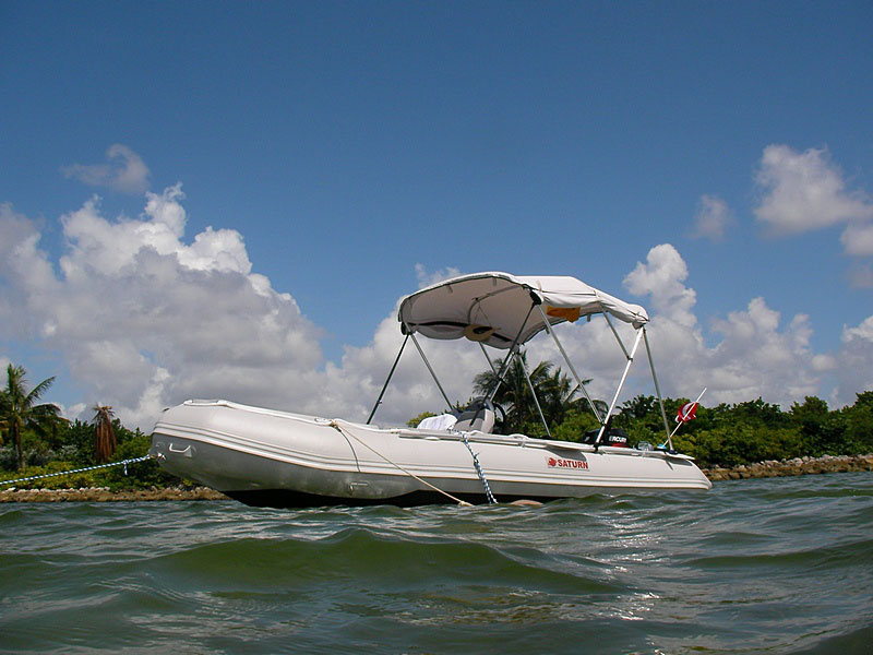 Customer Photo - 16' Saturn SD487 Inflatable Boat - Side View with Bimini Top Installed - Light Grey Color