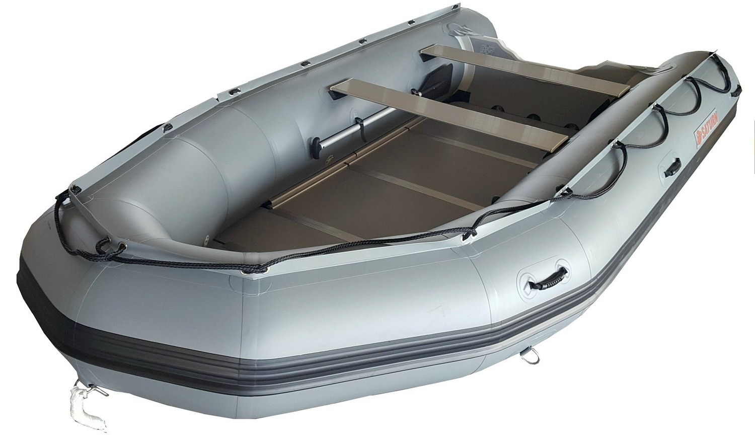 14' Saturn Inflatable Boat SD430 - Gun Metal Gray (Alum. Floor Upgrade Not Shown)