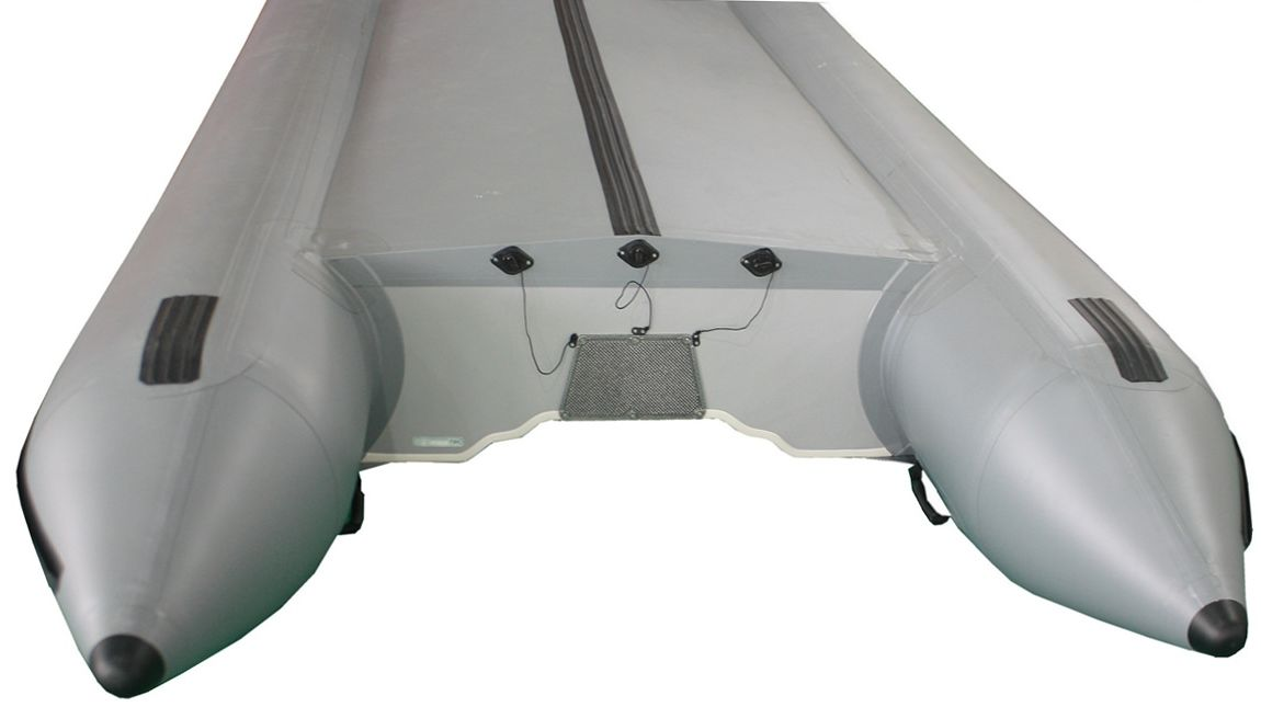 18' Saturn SD518 Inflatable Boat in Gun Metal Gray Color - Bottom View Showing Triple Drain Plugs and Extra Tube Reinforcement PVC