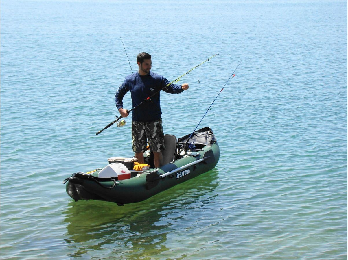 Customer Photo - 13' Saturn Fishing Kayak FK396 - Standing is Simple on the Dropstitch Floor