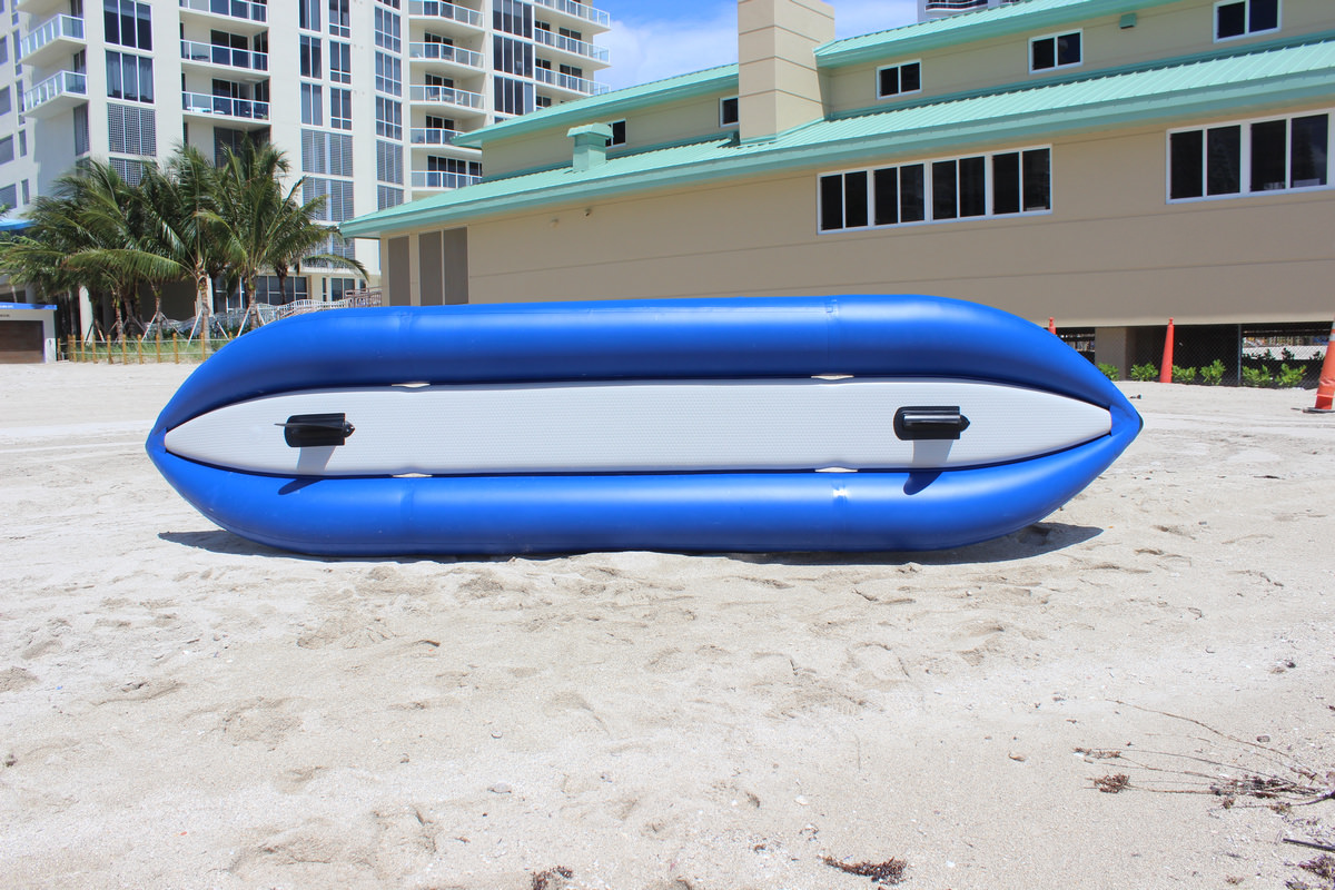 14' Saturn Ocean Kayak OK420X - Bottom View Showing 2 Removable Fins and 4 Gaps for Water to Release