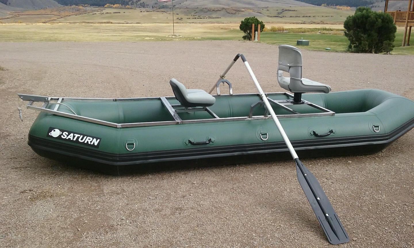 "12'6"" Saturn Soloquest Whitewater Raft with Custom Frame - Side View"