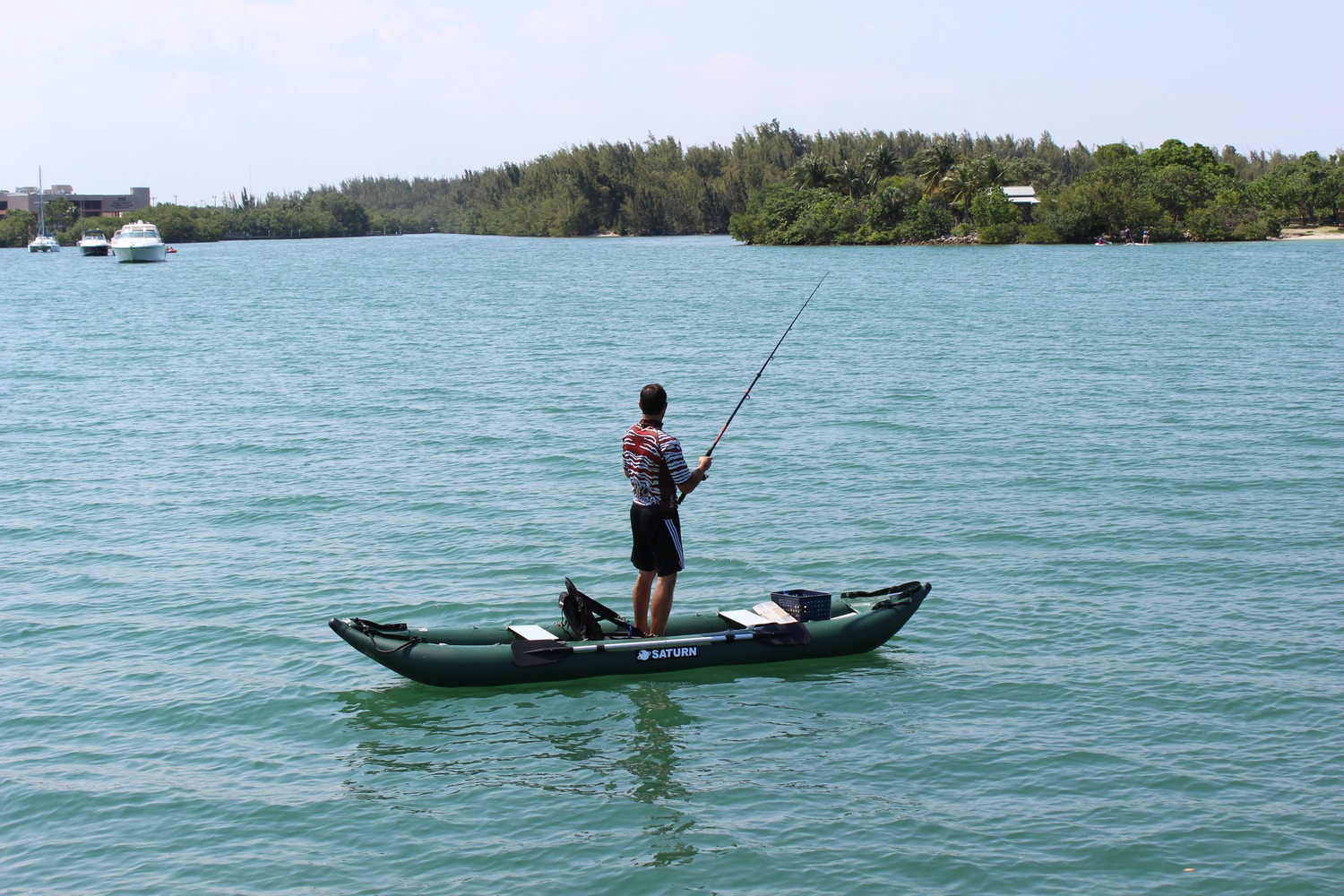13' Saturn Ocean Fishing Kayak - Standing is Simple on the Dropstitch Rigid Inflatable Floor