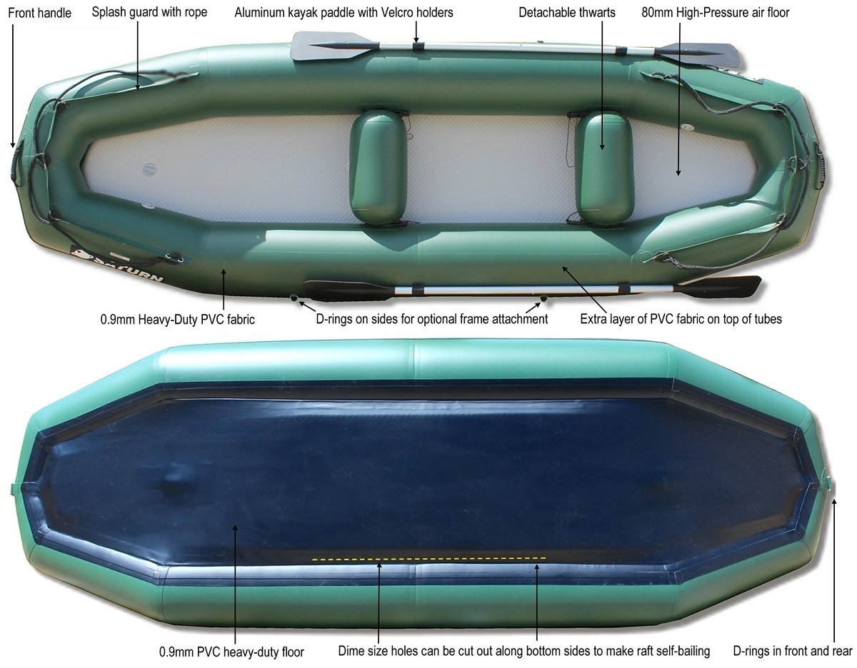 12' Saturn Raft/Kayak - RD365X Specs - (Brand New Upgraded Leafield C7 Valves and Outfitter Floor Not Shown)