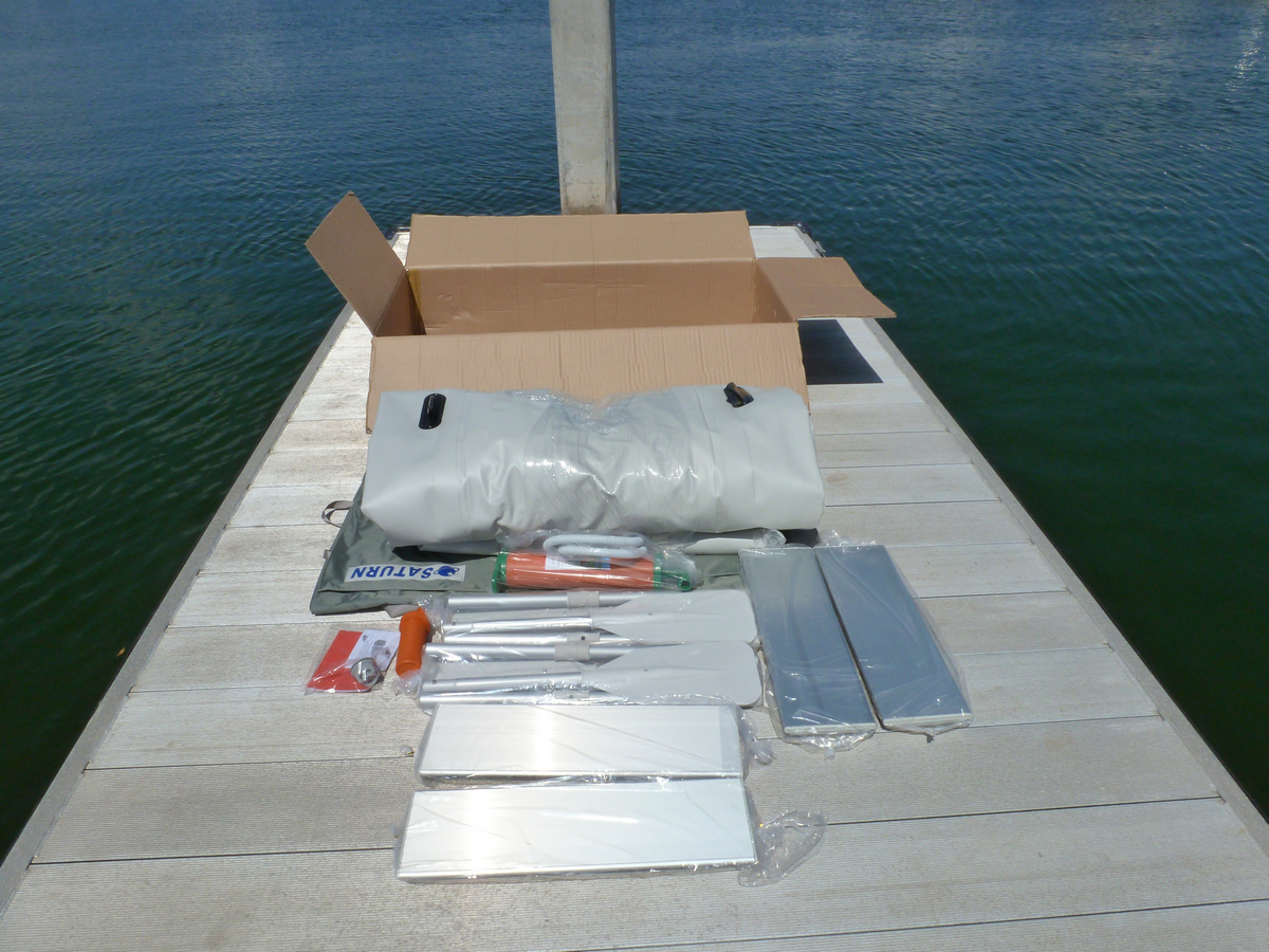 18' Saturn KaBoat - Accessories Include 4 Aluminum Seats, Carrying Bag, Repair Kit, and 2 Sets of Oars