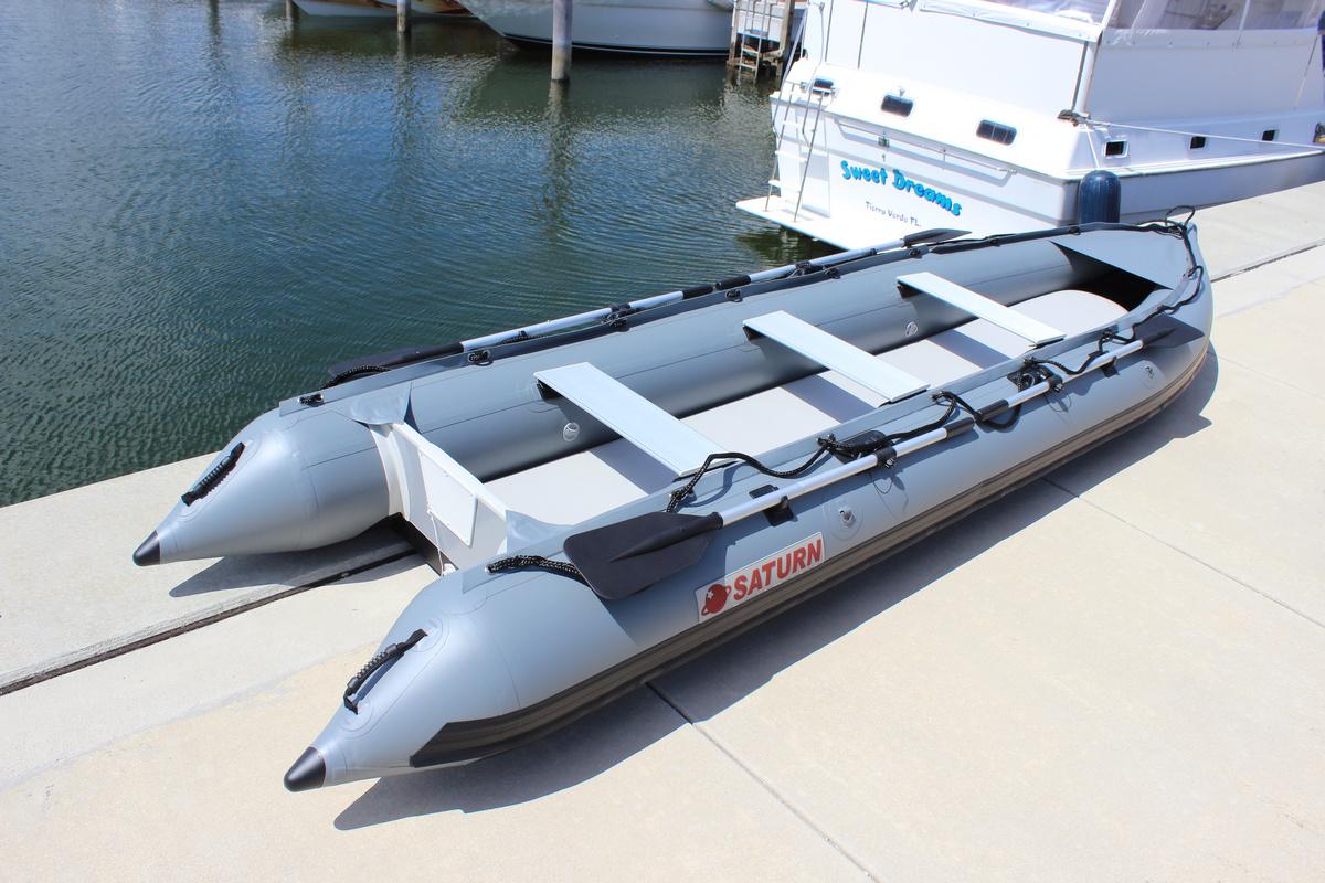 15' Saturn Inflatable XL KaBoat - Gun Metal Grey - Alaska Series (Upgraded Leafield C7 Valves Not Shown)