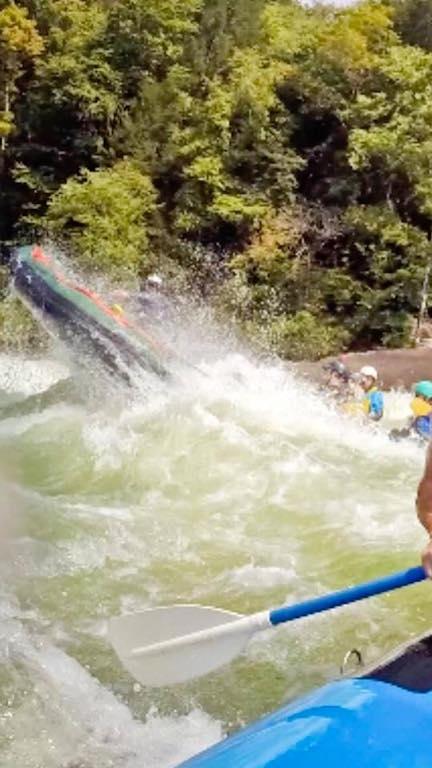 """Customer Photo - 9'6"""" Saturn Whitewater Raft Catching Air"""
