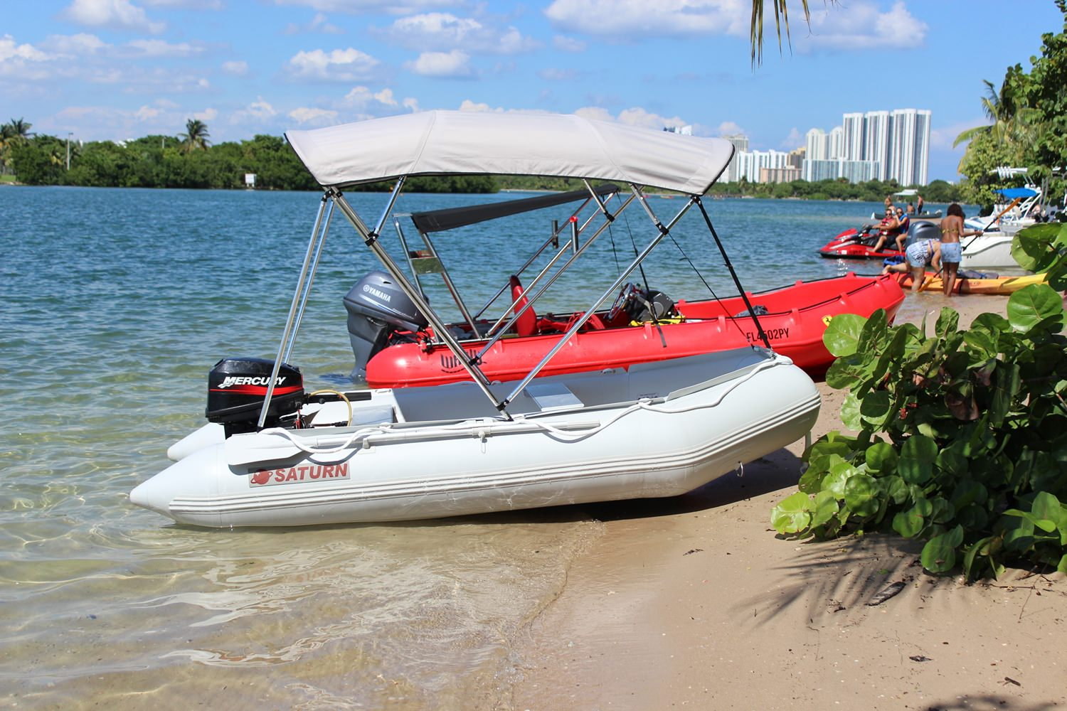11' Saturn Inflatable Boat SD330 - With Outboard Motor and 4-Bow Bimini Top