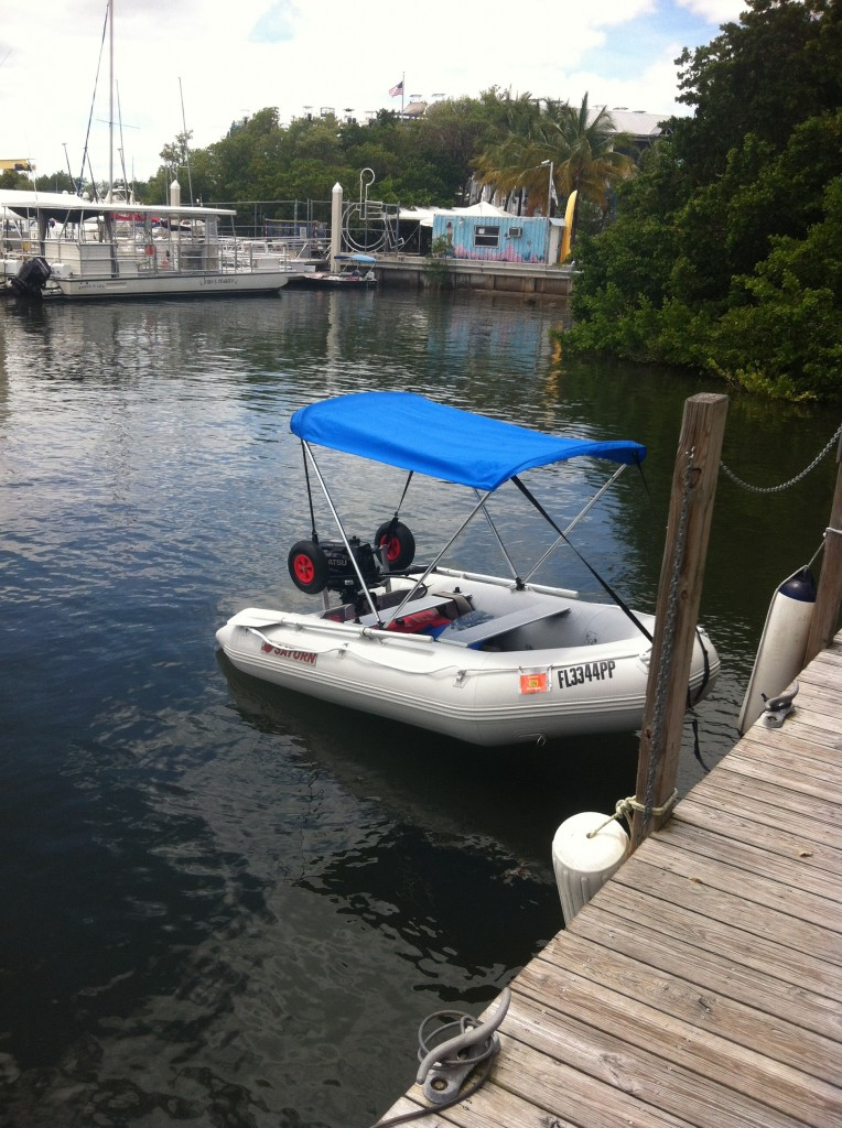 11' Saturn Inflatable Boat SD330 - With 15 HP Motor and 4-Bow Bimini Top