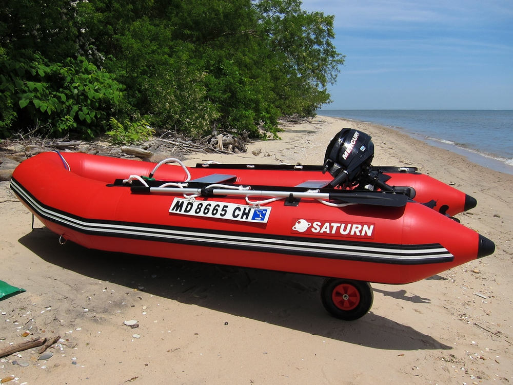 12' Saturn Inflatable Boat with Motor and Wheels