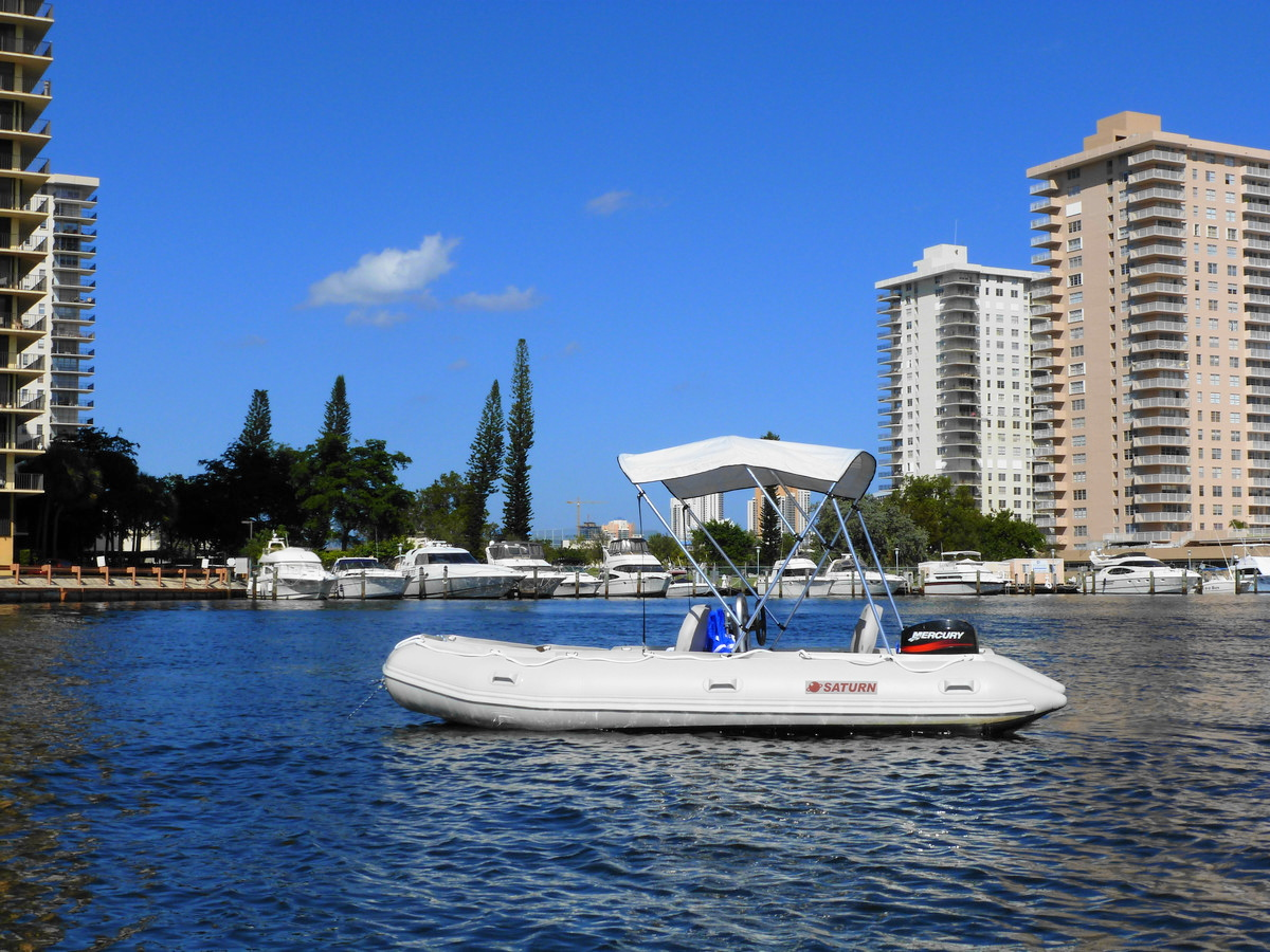 Customer Photo - 15' Saturn Inflatable Boat - SD470 - w/ Aluminum Floor and Bimini Top