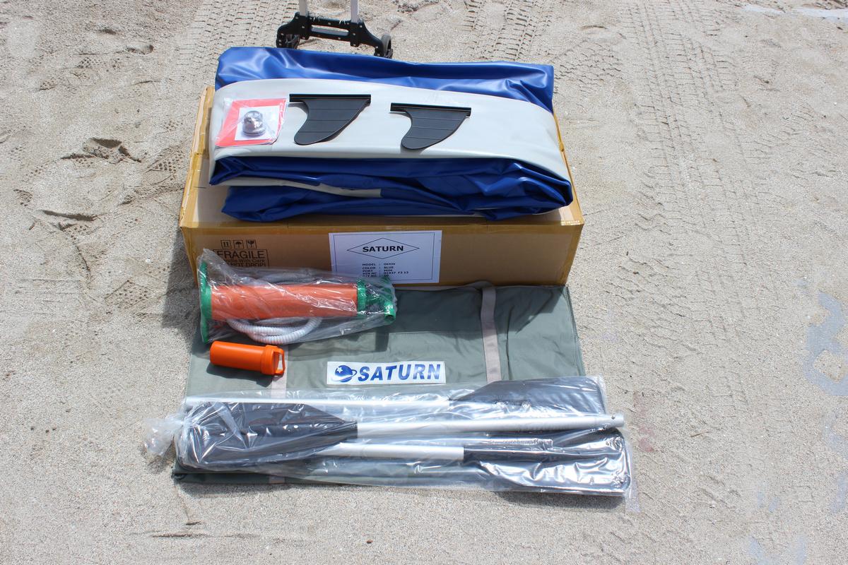 14' Saturn Ocean Kayak Accessories - 2 Removable Fins, 1 Repair Kit, 2 Kayak Paddles, 1 Kayak Seat (not shown), 1 Pump, and 1 Carrying Bag