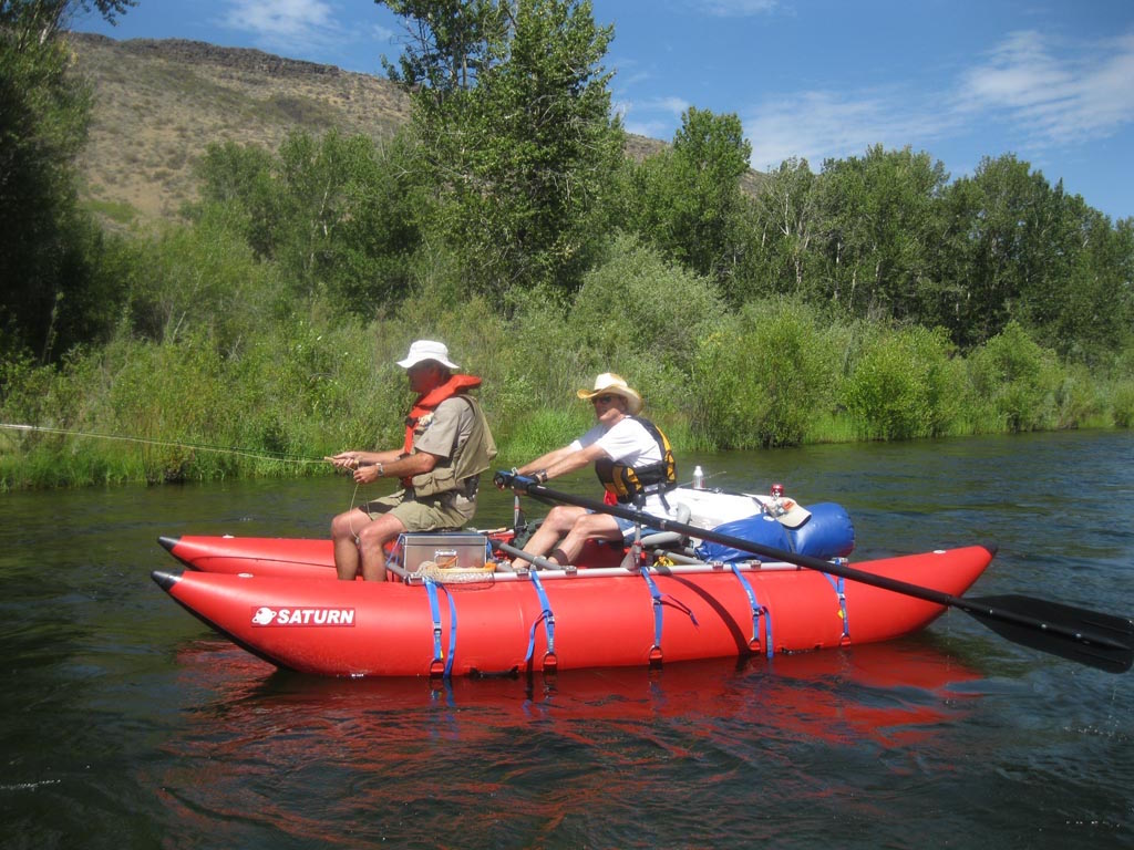 """15'6"""" CT457 Saturn Cataract Tubes with NRS Rowing Frame By Saturn Rafts - Boise River Fishing Trip"""
