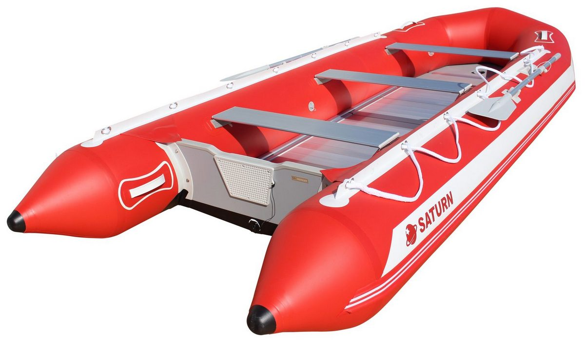 15' Saturn Inflatable SD460 Budget Boat - Red Angled View