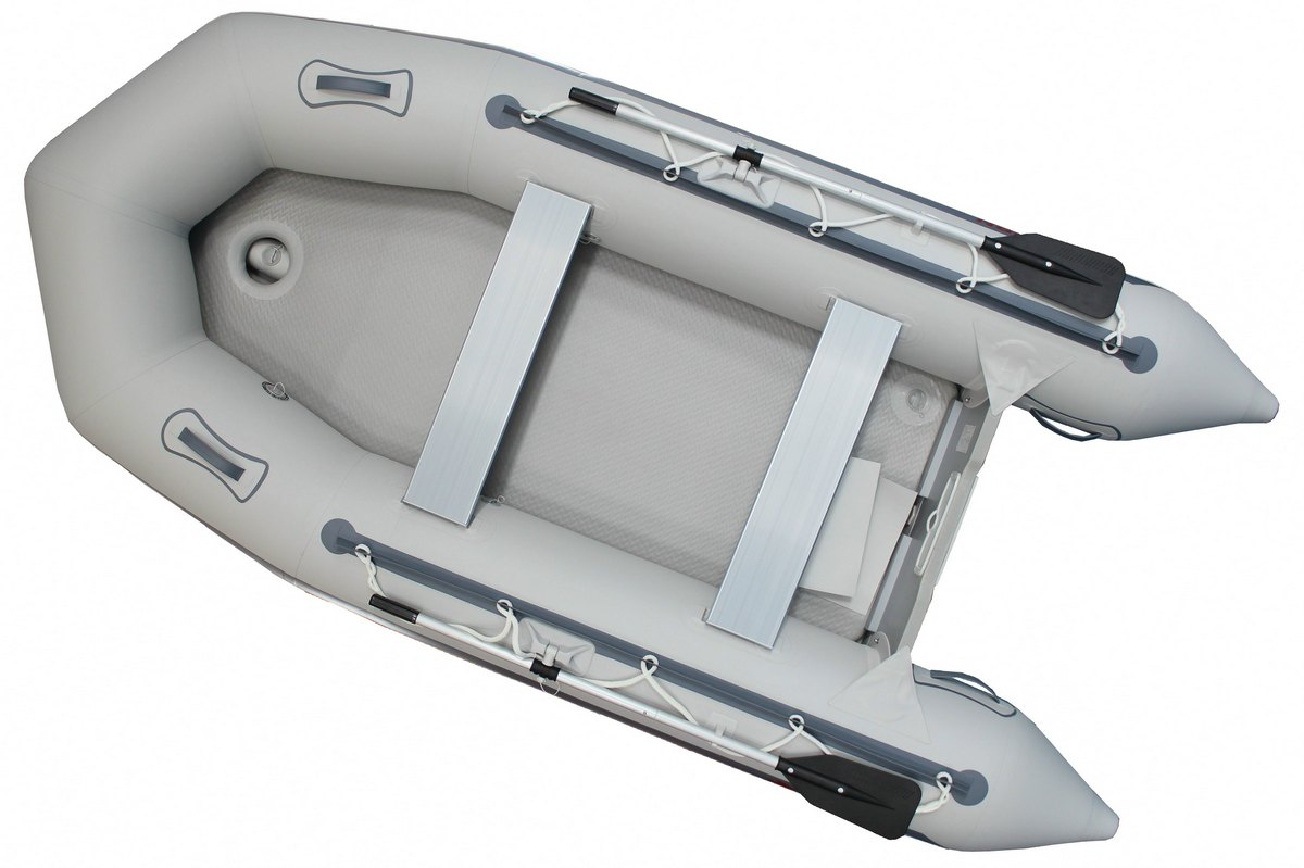 12.5' Budget Boat by Saturn - Grey Top View (Upgraded Inflatable Floor)