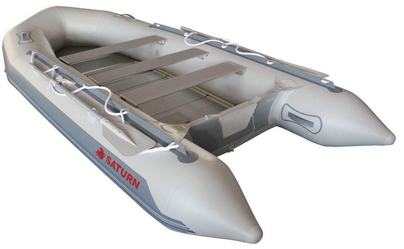 13.5' Inflatable Boat SD410 by SATURN - Grey Angled View