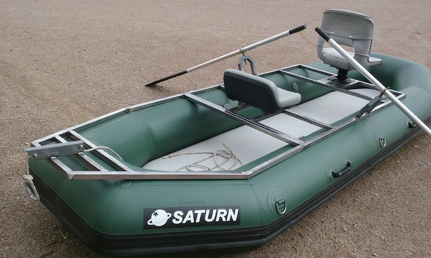 "12'6"" Saturn Soloquest Whitewater Raft with Custom Frame - Angled View"