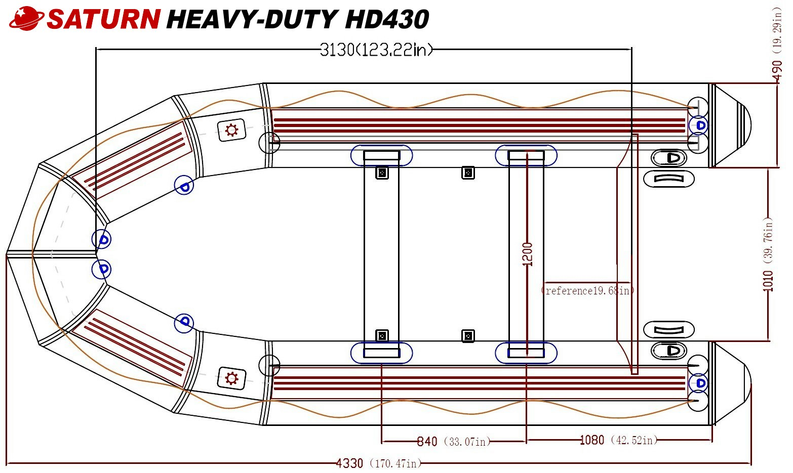 14' Saturn HD Inflatable Boat Specs