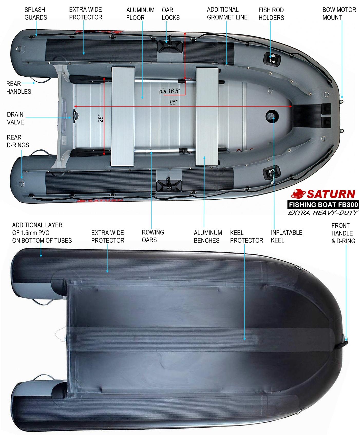 10' Saturn Fishing Boat FB300X Specs