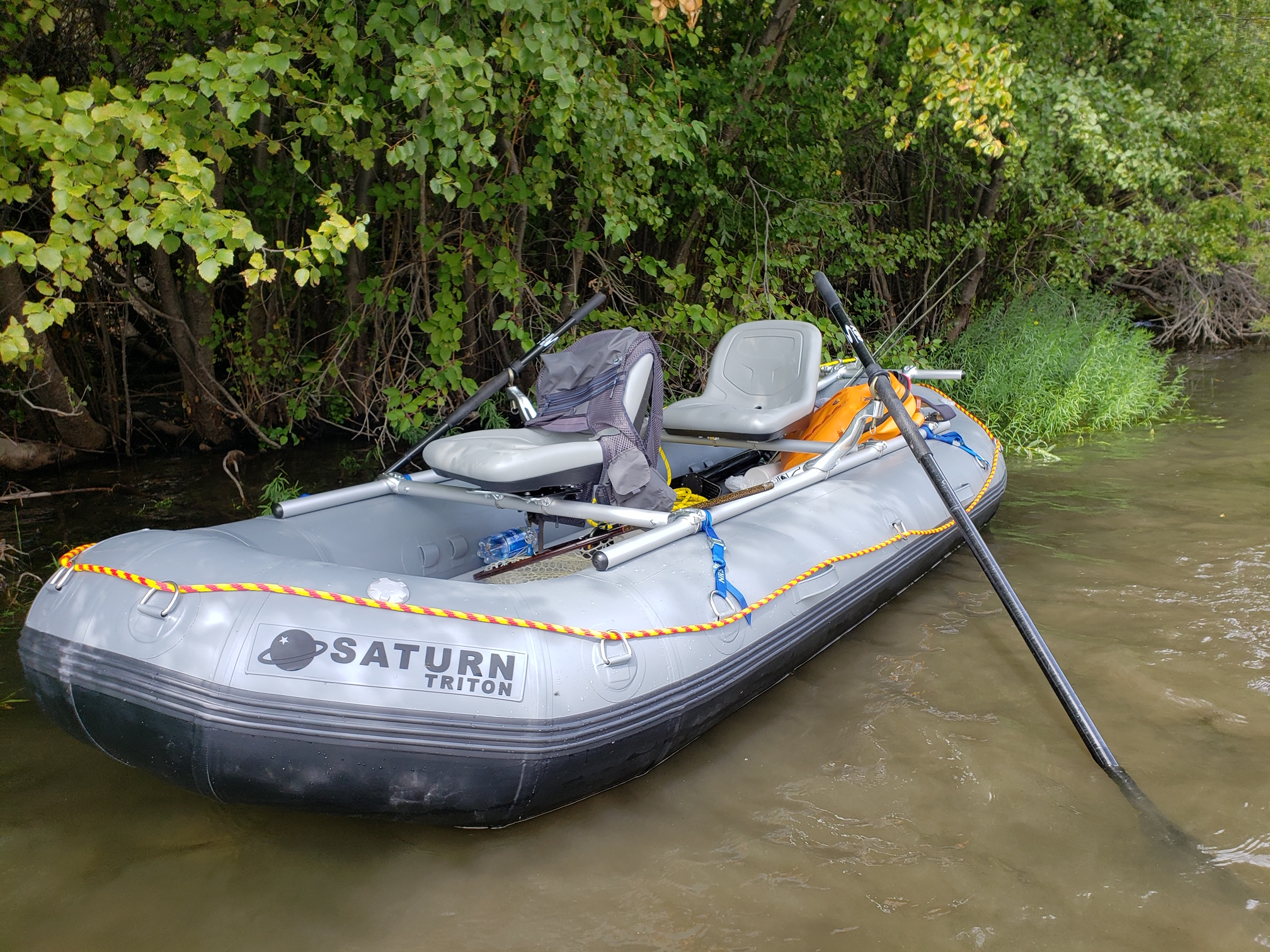 "Prior Model Light Grey 12'6"" Saturn Whitewater Raft"