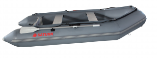 2020 11' Saturn SD330 Dinghy (Dark Grey) With Upgraded C7 Style Inflation Valves - Side View