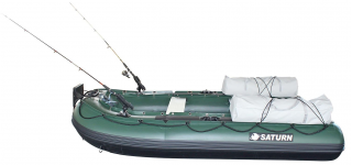 10' Saturn Inflatable Fishing Boat (FB300X) - Side View with Aluminum Seat Benches