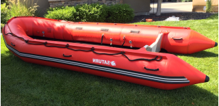 16' Saturn XHD488F Inflatable Rescue Boat - Partial Inflation Side View Showing Removed Aluminum Sectional Floor and Deflated Keel
