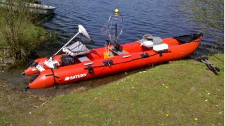 Customer Photo - Older Version 15' Red Saturn KaBoat SK470