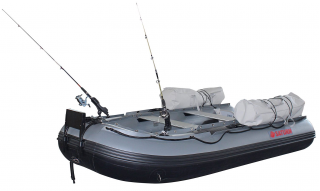 12' Saturn Fishing Boat FB365 Dark Grey - Side View with Fishing Setup (Rods and Bags Not Included)