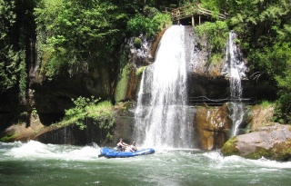 14' Saturn Whitewater Raft and an Awesome Waterfall Background