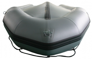 18' Saturn SD518 Inflatable Boat in Gun Metal Gray Color - Front Bottom View