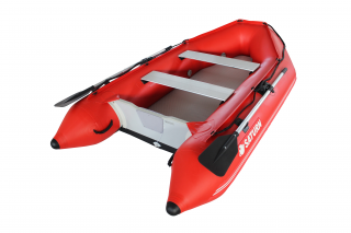 2020 11' Saturn SD330 Dinghy (Red) With Upgraded C7 Style Inflation Valves - Side View