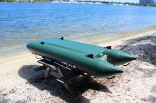 12' Saturn KaBoat SK396 - Green - Bottom View (Notice 2nd Layer of PVC Protection Covering Side Tubes and Floor)