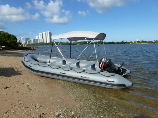 Customer Photo - 18' Saturn SD518 Inflatable Boat with 4-Bow Bimini Top