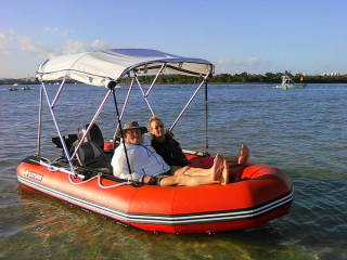 Customer Photos - 13' Saturn Dinghy SD385 with 4-Bow Bimini Top