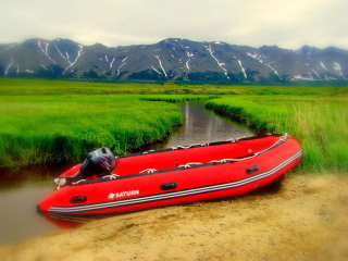 Customer Photo - 14' Saturn Inflatable Boat - Red - Alaska (Alum. Floor Upgrade Not Shown)