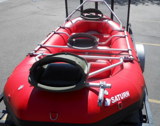 Customer Photo - 14' Saturn Whitewater Raft - Customized NRS Fishing Frame Package