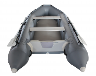 2020 11' Saturn SD330 Dinghy (Dark Grey) With Upgraded C7 Style Inflation Valves - Rear View