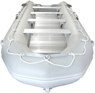 16' Saturn XHD487 Inflatable Boat - Front View - Light Grey Color