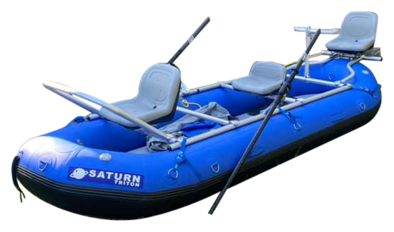 "2021 12'6"" Saturn Triton Whitewater Raft (Blue) with 3-Seat NRS Fishing Frame"